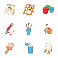 Paint drawing icons set. Cartoon illustration of 9 paint drawing vector icons for web