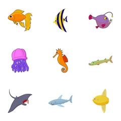 Fish icons set. Cartoon illustration of 9 fish vector icons for web