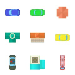 Top view of cars icons set. Cartoon illustration of 9 top view of cars vector icons for web
