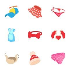 Clothing for body icons set. Cartoon illustration of 9 clothing for body vector icons for web