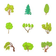 Trees icons set. Cartoon illustration of 9 trees vector icons for web