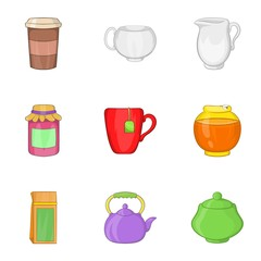 Types of drink icons set. Cartoon illustration of 9 types of drink vector icons for web