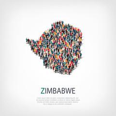 people map country Zimbabwe vector