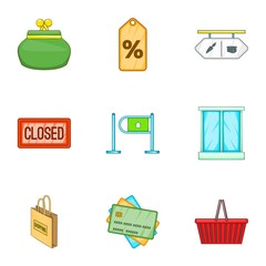 Shop icons set. Cartoon illustration of 9 shop vector icons for web
