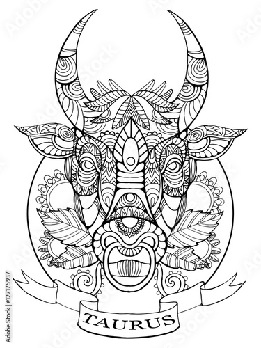 u0026quot taurus zodiac sign coloring book for adults vector