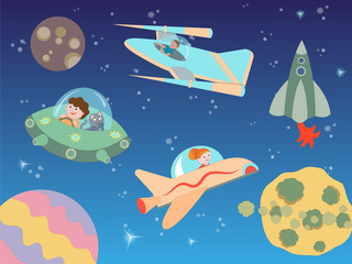 Children flying on spacecraft in outer space among planets and s