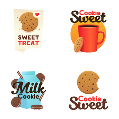 Set confectionery banners, labels, logos.