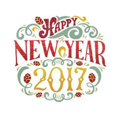 Vector illustration of New Year 2017 logotype