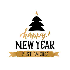 Lettering 'Happy New Year' for Christmas/New Year greeting card