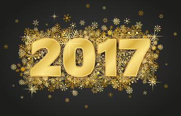 Happy new year card 2017 on dark background