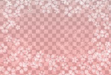 市松模様 桜 背景画像