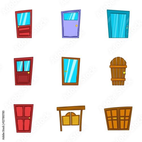 Quot security door icons set cartoon illustration of