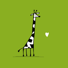 Giraffe in love, funny sketch for your design