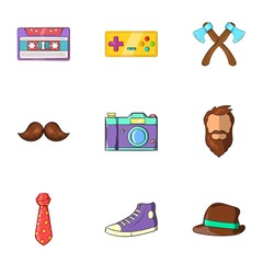 Hipster icons set. Cartoon illustration of 9 hipster vector icons for web
