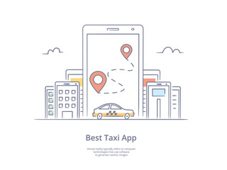 Premium Quality Line Hand Drawn Icon And Concept Set: Mobile app for ordering taxi, Mobile phone with street map and location pointer, Mobile city.