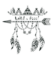 Boho Style for T-shirt and Decoration. Abstract Design with Bird Feather and Arrow .