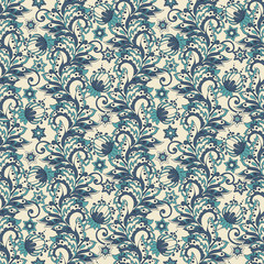 seamless pattern with flowers in indian style.