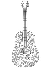 Musical instrument guitar Coloring book vector for adults