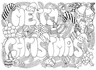 Merry Christmas background. Vector image in black and white.
