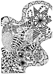 Abstract image. Background in black and white. Vector.
