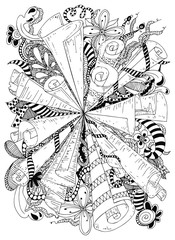 Vector illustration zentangle abstraction ancient scrolls. Doodle patterns, flowers. Coloring book anti stress for adults. Black and white.