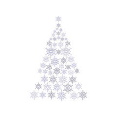snowflake background with christmas tree shape