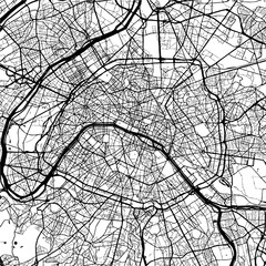 Paris, France, Monochrome Map Artprint