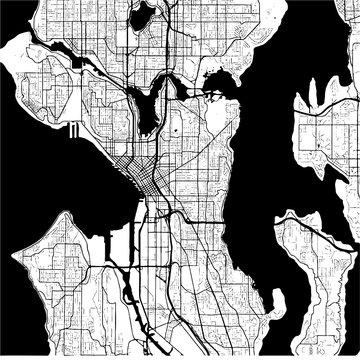Seattle, Washington, USA, Monochrome Map Artprint