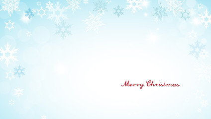 Christmas silver background with snowflakes and decent red Merry
