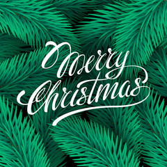 Vector illustration MERRY CHRISTMAS hand lettering handmade calligraphy