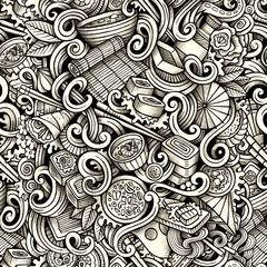 Cartoon hand drawn japanese food doodles seamless pattern