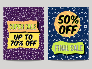 Vector set of abstract sale posters in retro 80s, 90s memphis style with geometric elements