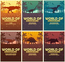 Posters collection World of dinosaurs. Prehistoric world. T-rex, Diplodocus, Velociraptor, Parasaurolophus, Stegosaurus, Triceratops. Cretaceous period. Jurassic period.