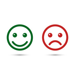 Smiley emoticons icon positive and negative, vector isolated illustration of red and green different mood.