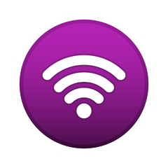 Wifi logo vector button, violet connect symbol isolated on white background.
