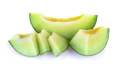 melon slice on white background