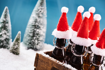 Tasty beer bottles for winter party