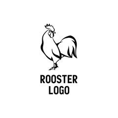 Black Rooster logo. Cock linear style illustration.