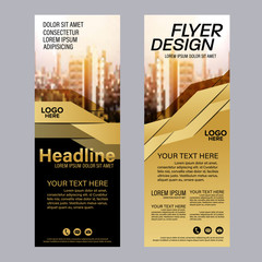 Gold Roll up layout template. flag flyer business banner backdrop design. vector illustration background