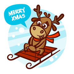 Merry Christmas and Happy New Year Reindeer sledging