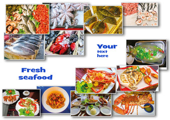 Sea food collage with raw fish and restaurant dishes