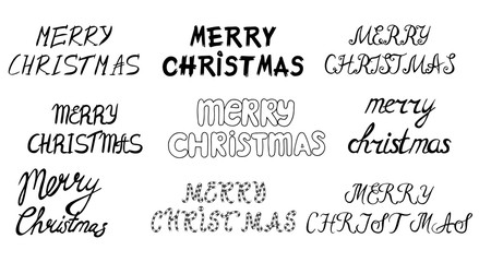 Set of hand drawn Merry christmas