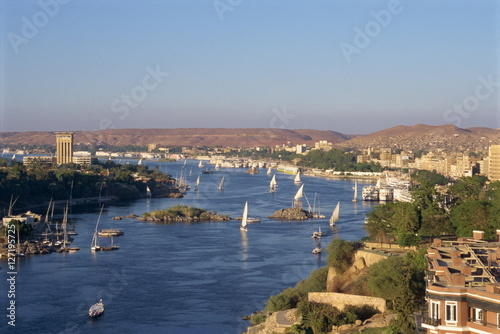 View From The New Cataract Hotel Of The River Nile At Aswan Egypt