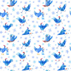 Seamless pattern with comic rooster on skates,skiing,snowman,hockey,fishing,sled and snowflake.Symbol of the new year 2017.Watercolor hand drawn illustration.White background.