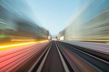 Fotobehang Nacht snelweg Speed motion in urban highway road tunnel