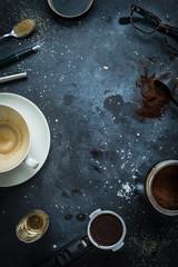 Cafe table - espresso accessories, empty coffee cup