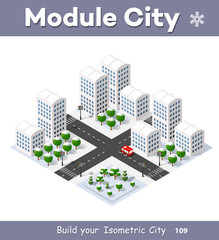 New Year Christmas 3d house in the winter forest. Isometric city building in the region landscape. Three-dimensional urban neighborhood with streets and houses. Seasonal nature scenery stock vector