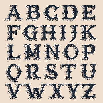 Retro alphabet. Vintage western style volume typeface with lines