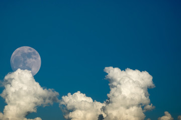 super full moon in 68 years with clear blue sky cloud daytime for background backdrop use