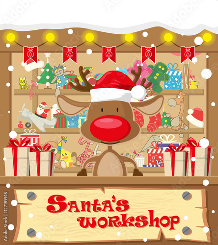 Merry christmas background santa workshop cute deer in santa hat santa workshop cute deer in santa hat and gift toys m4hsunfo